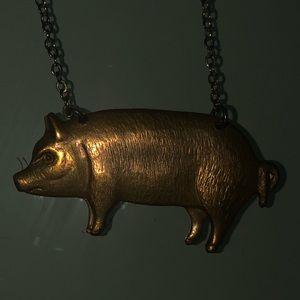 Pig Brassy Gold Necklace